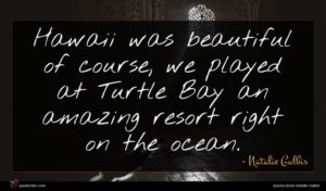 Natalie Gulbis quote : Hawaii was beautiful of ...