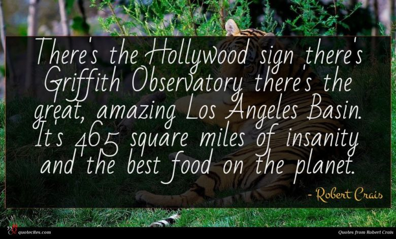There's the Hollywood sign there's Griffith Observatory there's the great, amazing Los Angeles Basin. It's 465 square miles of insanity and the best food on the planet.