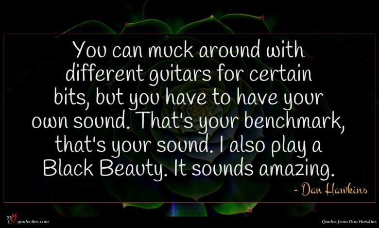 You can muck around with different guitars for certain bits, but you have to have your own sound. That's your benchmark, that's your sound. I also play a Black Beauty. It sounds amazing.