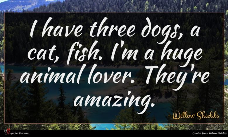 I have three dogs, a cat, fish. I'm a huge animal lover. They're amazing.