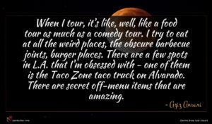 Aziz Ansari quote : When I tour it's ...
