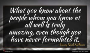 Harry Stack Sullivan quote : What you know about ...