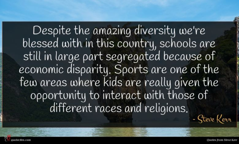 Despite the amazing diversity we're blessed with in this country, schools are still in large part segregated because of economic disparity. Sports are one of the few areas where kids are really given the opportunity to interact with those of different races and religions.