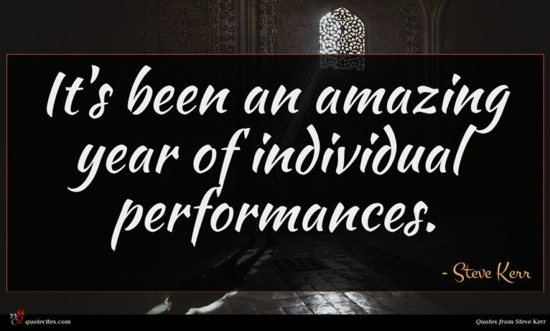 It's been an amazing year of individual performances.