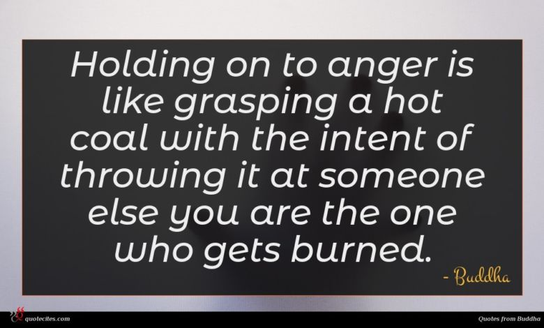 Photo of Buddha quote : Holding on to anger …