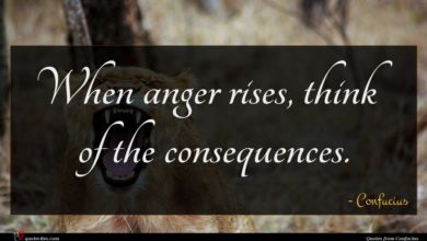Photo of Confucius quote : When anger rises think …