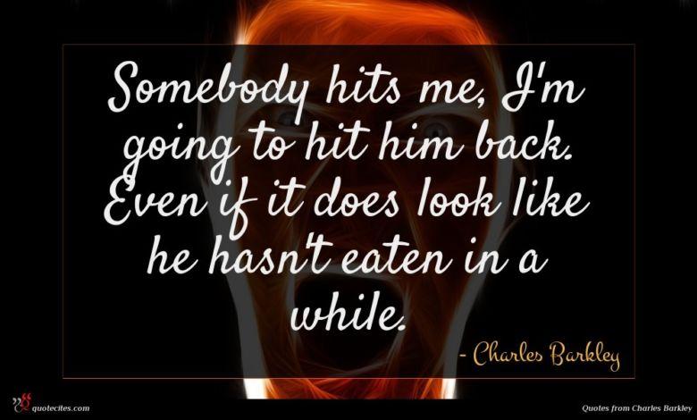Photo of Charles Barkley quote : Somebody hits me I'm …