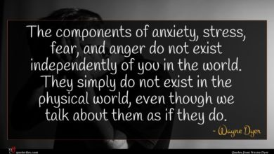 Photo of Wayne Dyer quote : The components of anxiety …