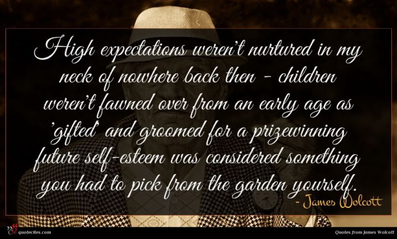 High expectations weren't nurtured in my neck of nowhere back then - children weren't fawned over from an early age as 'gifted' and groomed for a prizewinning future self-esteem was considered something you had to pick from the garden yourself.