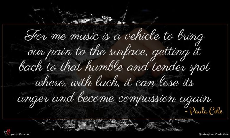 For me music is a vehicle to bring our pain to the surface, getting it back to that humble and tender spot where, with luck, it can lose its anger and become compassion again.
