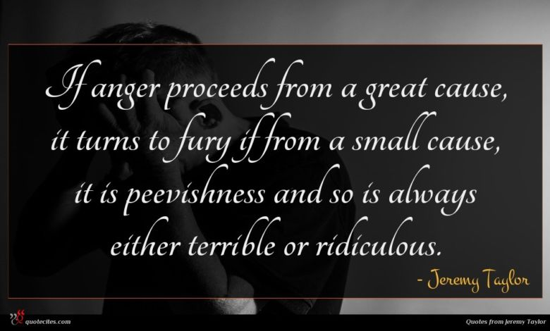 If anger proceeds from a great cause, it turns to fury if from a small cause, it is peevishness and so is always either terrible or ridiculous.