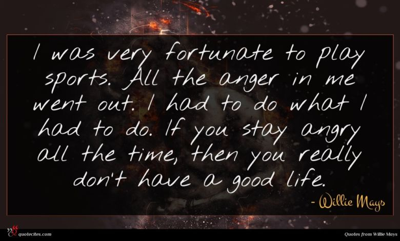 I was very fortunate to play sports. All the anger in me went out. I had to do what I had to do. If you stay angry all the time, then you really don't have a good life.