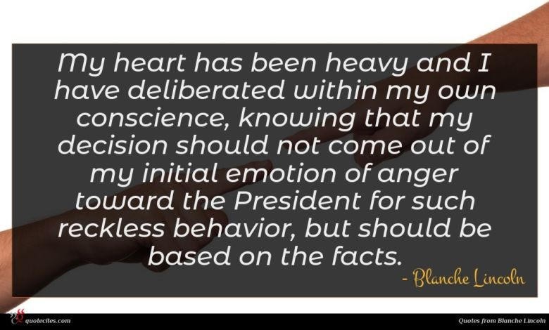 My heart has been heavy and I have deliberated within my own conscience, knowing that my decision should not come out of my initial emotion of anger toward the President for such reckless behavior, but should be based on the facts.