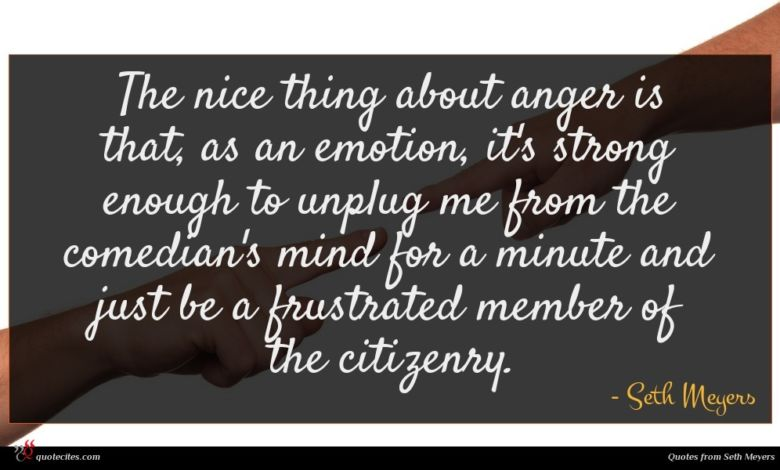 The nice thing about anger is that, as an emotion, it's strong enough to unplug me from the comedian's mind for a minute and just be a frustrated member of the citizenry.