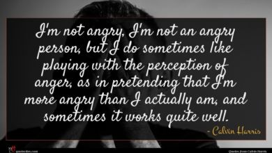 Photo of Calvin Harris quote : I'm not angry I'm …