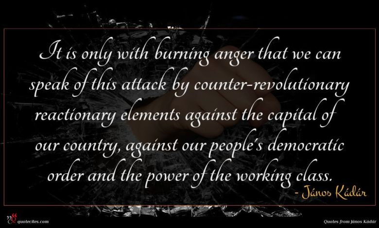 It is only with burning anger that we can speak of this attack by counter-revolutionary reactionary elements against the capital of our country, against our people's democratic order and the power of the working class.