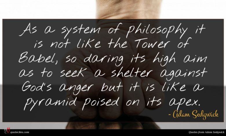 As a system of philosophy it is not like the Tower of Babel, so daring its high aim as to seek a shelter against God's anger but it is like a pyramid poised on its apex.