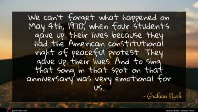 Photo of Graham Nash quote : We can't forget what …