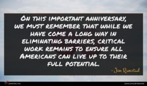 Jim Ramstad quote : On this important anniversary ...