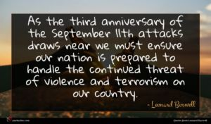 Leonard Boswell quote : As the third anniversary ...