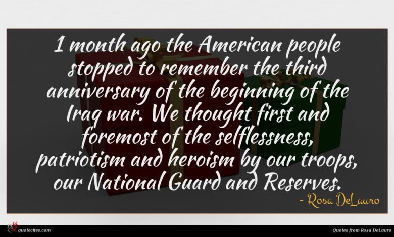 1 month ago the American people stopped to remember the third anniversary of the beginning of the Iraq war. We thought first and foremost of the selflessness, patriotism and heroism by our troops, our National Guard and Reserves.