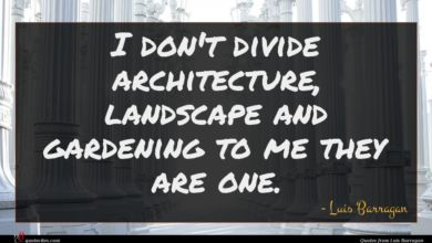 Photo of Luis Barragan quote : I don't divide architecture …