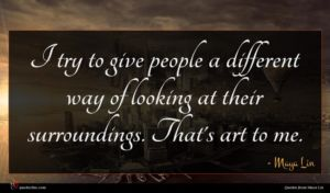 Maya Lin quote : I try to give ...