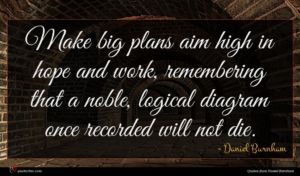 Daniel Burnham quote : Make big plans aim ...