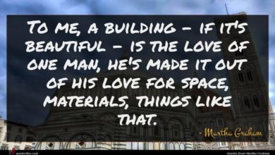 Photo of Martha Graham quote : To me a building …