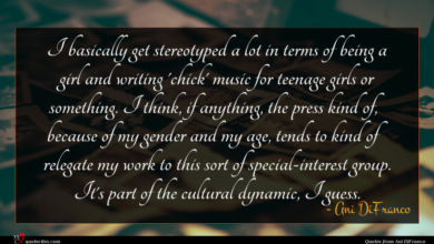 Photo of Ani DiFranco quote : I basically get stereotyped …