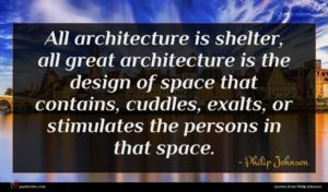 Philip Johnson quote : All architecture is shelter ...