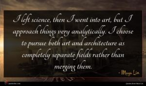 Maya Lin quote : I left science then ...