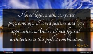 Maya Lin quote : I loved logic math ...