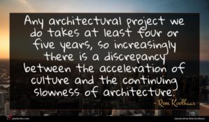 Rem Koolhaas quote : Any architectural project we ...
