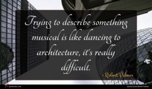 Robert Palmer quote : Trying to describe something ...