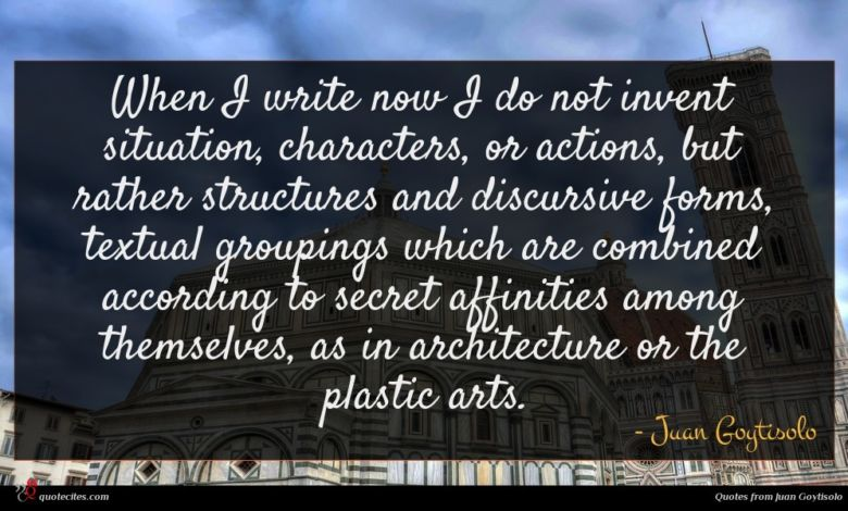 When I write now I do not invent situation, characters, or actions, but rather structures and discursive forms, textual groupings which are combined according to secret affinities among themselves, as in architecture or the plastic arts.