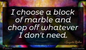 Auguste Rodin quote : I choose a block ...