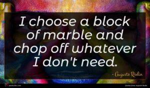 Auguste Rodin quote : I choose a block ...