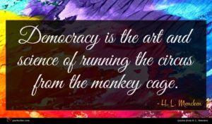 H. L. Mencken quote : Democracy is the art ...