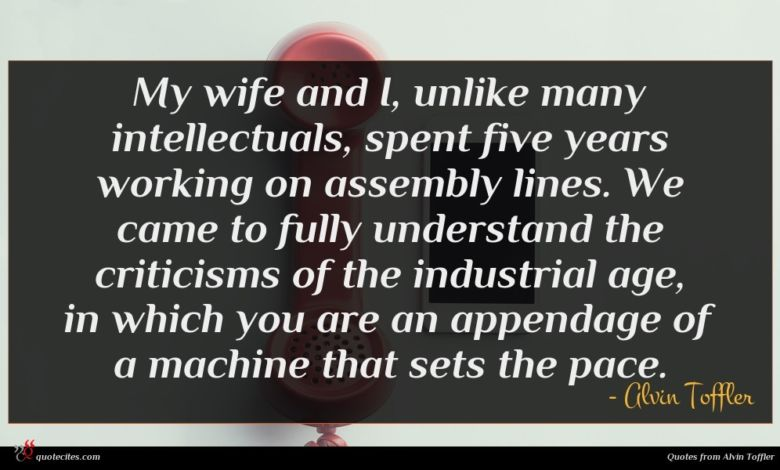 My wife and I, unlike many intellectuals, spent five years working on assembly lines. We came to fully understand the criticisms of the industrial age, in which you are an appendage of a machine that sets the pace.
