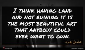 Andy Warhol quote : I think having land ...