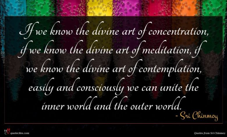 If we know the divine art of concentration, if we know the divine art of meditation, if we know the divine art of contemplation, easily and consciously we can unite the inner world and the outer world.