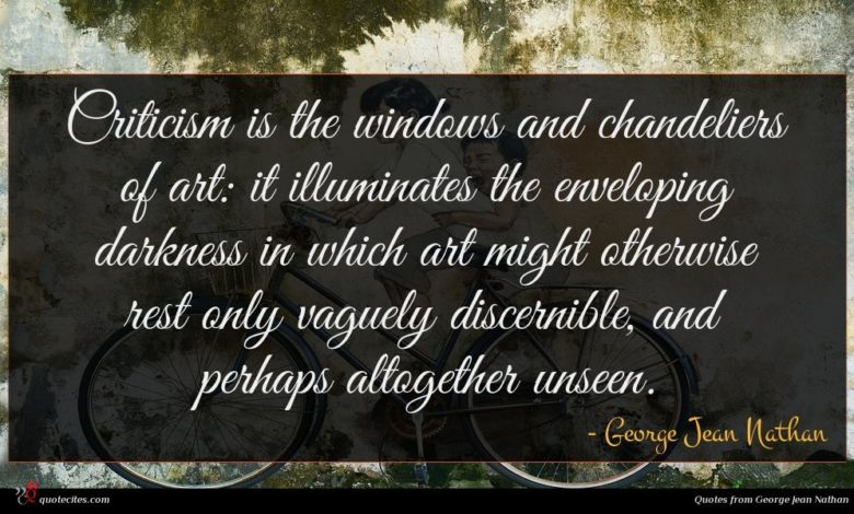 Photo of George Jean Nathan quote : Criticism is the windows …
