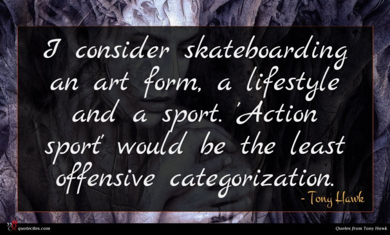I consider skateboarding an art form, a lifestyle and a sport. 'Action sport' would be the least offensive categorization.