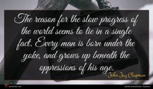 John Jay Chapman quote : The reason for the ...