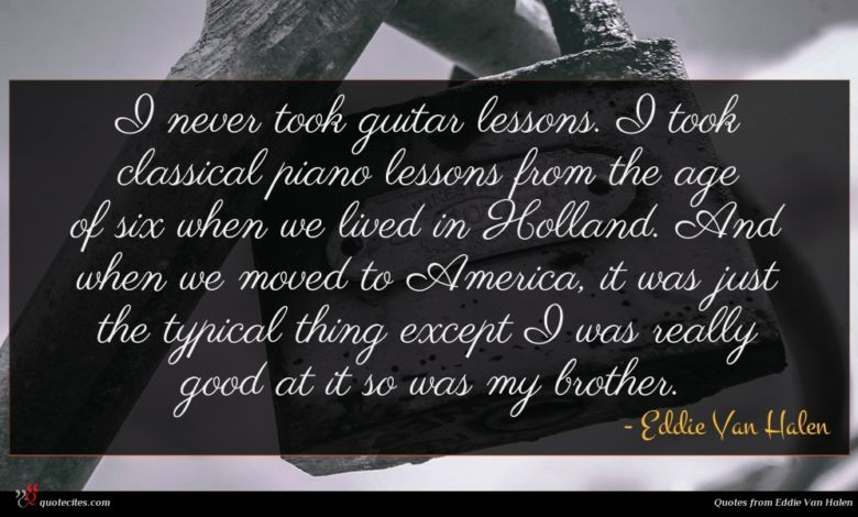 I never took guitar lessons. I took classical piano lessons from the age of six when we lived in Holland. And when we moved to America, it was just the typical thing except I was really good at it so was my brother.