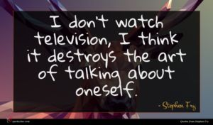 Stephen Fry quote : I don't watch television ...