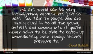 Daniel Radcliffe quote : The art world can ...