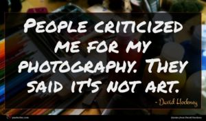 David Hockney quote : People criticized me for ...