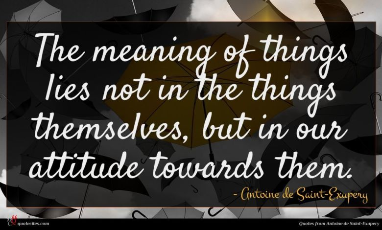 Photo of Antoine de Saint-Exupery quote : The meaning of things …